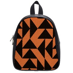 Brown Triangles Background School Bags (small)  by Simbadda