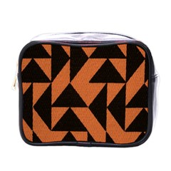Brown Triangles Background Mini Toiletries Bags by Simbadda