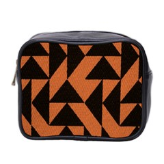 Brown Triangles Background Mini Toiletries Bag 2 Side by Simbadda