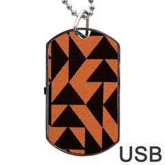 Brown Triangles Background Dog Tag Usb Flash (two Sides) by Simbadda