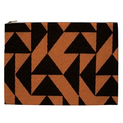 Brown Triangles Background Cosmetic Bag (xxl)  by Simbadda
