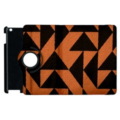 Brown Triangles Background Apple Ipad 2 Flip 360 Case by Simbadda
