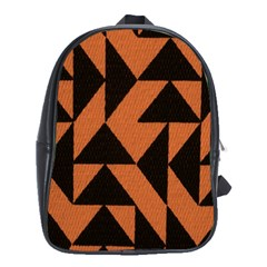 Brown Triangles Background School Bags (xl)  by Simbadda