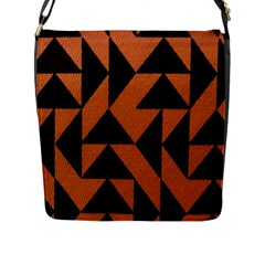 Brown Triangles Background Flap Messenger Bag (l)  by Simbadda