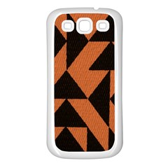 Brown Triangles Background Samsung Galaxy S3 Back Case (white) by Simbadda