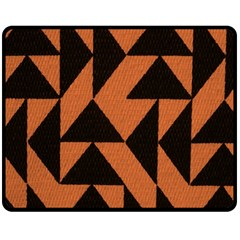 Brown Triangles Background Double Sided Fleece Blanket (medium)  by Simbadda