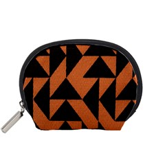 Brown Triangles Background Accessory Pouches (small)  by Simbadda