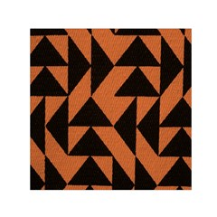 Brown Triangles Background Small Satin Scarf (square) by Simbadda
