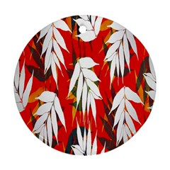 Leaves Pattern Background Pattern Round Ornament (two Sides) by Simbadda