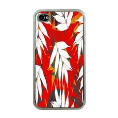 Leaves Pattern Background Pattern Apple Iphone 4 Case (clear) by Simbadda
