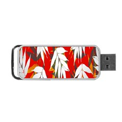 Leaves Pattern Background Pattern Portable Usb Flash (two Sides) by Simbadda