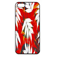 Leaves Pattern Background Pattern Apple Iphone 5 Seamless Case (black) by Simbadda