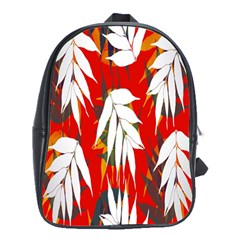 Leaves Pattern Background Pattern School Bags (xl)  by Simbadda