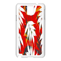 Leaves Pattern Background Pattern Samsung Galaxy Note 3 N9005 Case (White)