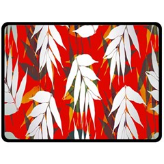 Leaves Pattern Background Pattern Double Sided Fleece Blanket (large)  by Simbadda