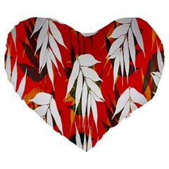 Leaves Pattern Background Pattern Large 19  Premium Flano Heart Shape Cushions by Simbadda