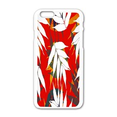 Leaves Pattern Background Pattern Apple Iphone 6/6s White Enamel Case by Simbadda