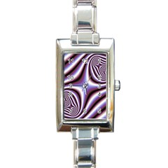Fractal Background With Curves Created From Checkboard Rectangle Italian Charm Watch by Simbadda