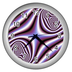 Fractal Background With Curves Created From Checkboard Wall Clocks (silver)  by Simbadda