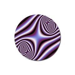 Fractal Background With Curves Created From Checkboard Rubber Round Coaster (4 Pack)  by Simbadda