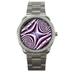 Fractal Background With Curves Created From Checkboard Sport Metal Watch by Simbadda