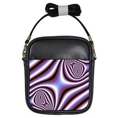 Fractal Background With Curves Created From Checkboard Girls Sling Bags by Simbadda