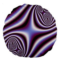 Fractal Background With Curves Created From Checkboard Large 18  Premium Round Cushions by Simbadda