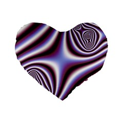 Fractal Background With Curves Created From Checkboard Standard 16  Premium Flano Heart Shape Cushions by Simbadda