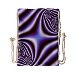 Fractal Background With Curves Created From Checkboard Drawstring Bag (small) by Simbadda