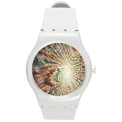 Vortex Glow Abstract Background Round Plastic Sport Watch (m) by Simbadda