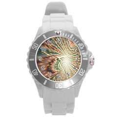Vortex Glow Abstract Background Round Plastic Sport Watch (l) by Simbadda