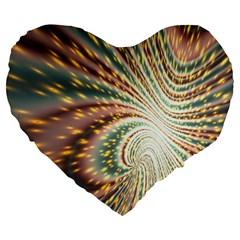 Vortex Glow Abstract Background Large 19  Premium Flano Heart Shape Cushions by Simbadda