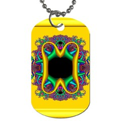 Fractal Rings In 3d Glass Frame Dog Tag (one Side) by Simbadda