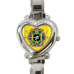 Fractal Rings In 3d Glass Frame Heart Italian Charm Watch by Simbadda