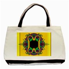 Fractal Rings In 3d Glass Frame Basic Tote Bag by Simbadda