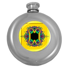 Fractal Rings In 3d Glass Frame Round Hip Flask (5 Oz)