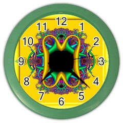 Fractal Rings In 3d Glass Frame Color Wall Clocks by Simbadda