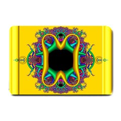 Fractal Rings In 3d Glass Frame Small Doormat  by Simbadda