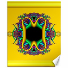 Fractal Rings In 3d Glass Frame Canvas 11  X 14   by Simbadda