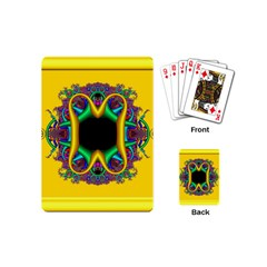 Fractal Rings In 3d Glass Frame Playing Cards (mini)  by Simbadda