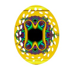 Fractal Rings In 3d Glass Frame Oval Filigree Ornament (two Sides) by Simbadda