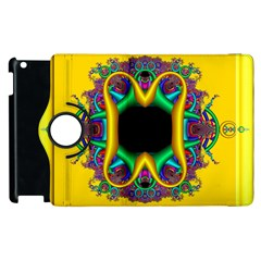 Fractal Rings In 3d Glass Frame Apple Ipad 2 Flip 360 Case by Simbadda