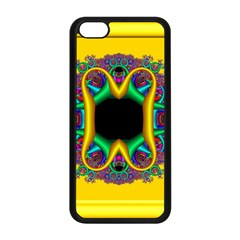 Fractal Rings In 3d Glass Frame Apple Iphone 5c Seamless Case (black) by Simbadda