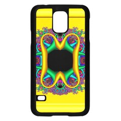 Fractal Rings In 3d Glass Frame Samsung Galaxy S5 Case (black) by Simbadda