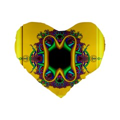 Fractal Rings In 3d Glass Frame Standard 16  Premium Flano Heart Shape Cushions by Simbadda