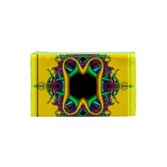 Fractal Rings In 3d Glass Frame Cosmetic Bag (xs) by Simbadda