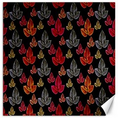 Leaves Pattern Background Canvas 16  X 16   by Simbadda