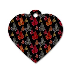 Leaves Pattern Background Dog Tag Heart (one Side) by Simbadda