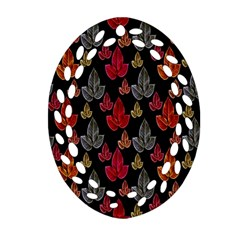 Leaves Pattern Background Oval Filigree Ornament (two Sides) by Simbadda