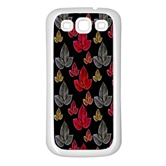 Leaves Pattern Background Samsung Galaxy S3 Back Case (white) by Simbadda